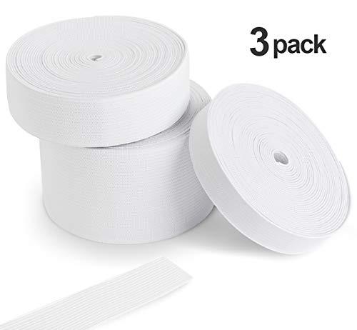 Agoer Gummiband 15-25-50-mm breit, Elastisches Band Elastische Schnur für Nähen und Haushalt DIY Handwerk, Gummilitze für den Rettungsdienst zu fertigen, Weiß 15 m/16.4 Yard