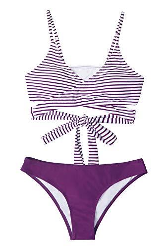 CUPSHE Conjunto de Bikini Mujer Rayas Anudado Cintura Baja Traje de Baño de Dos Piezas, L