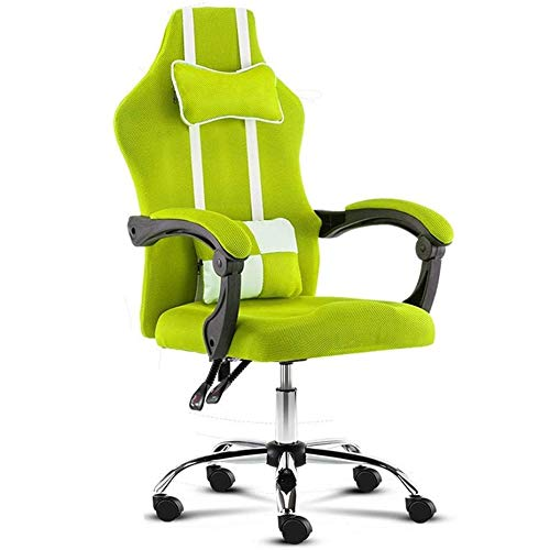 HUIQIN Gaming Chair Office Computer Chair, Ergonomic High-Back Swivel Reclining E-Sports Chair (Color : Green)
