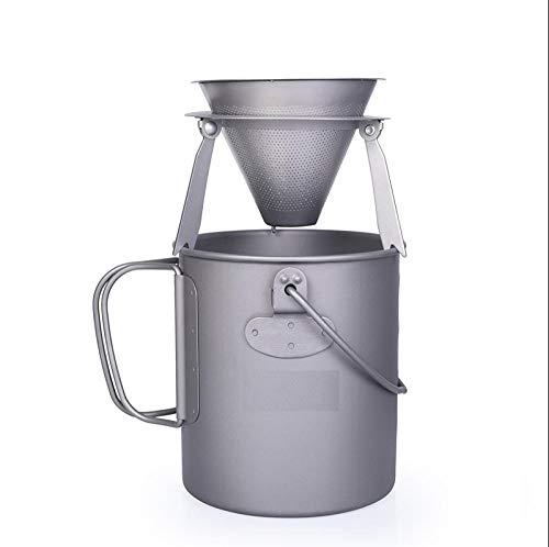 Winpavo Kaffeefiltern Permanentfilter Wiederverwendbarer Kaffeefilter Aus Titan Mit Halterung Camping Travel Abnehmbarer Kaffeetrichterständer Teesieb-Ti15127B