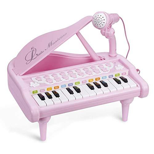 penglai Klaviertastatur-Spielzeug für Kinder, 24 Tasten, Pink, multifunktional, mit Mikrofon, Kleinkinder,...