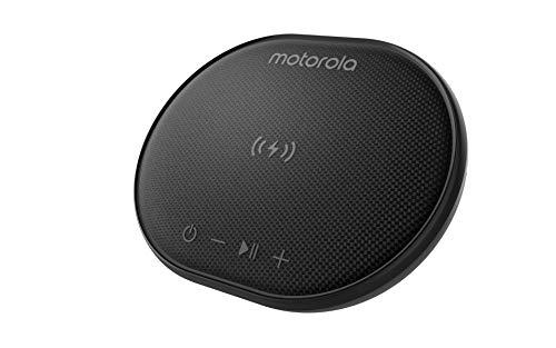Motorola Sonic Sub 500 Bluetooth Lautsprecher mit Kabelloser Ladestation - 5W Lautsprecher mit 15 St. Spielzeit - IPX7 Waterproof - Alexa und Google Assistant - Schwarz