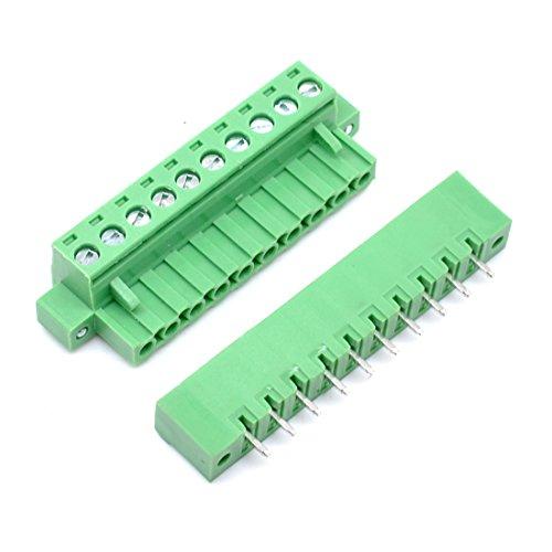 Willwin 10 Set 5,08 mm Abstand 10-polige steckbare Klemmenblöcke Steckverbinder grün