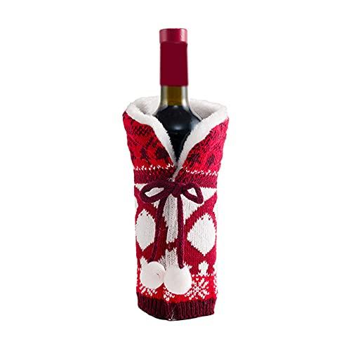SJHFG Bolsas para botellas de vino de Navidad, diseño de botella de champán, estilo 1