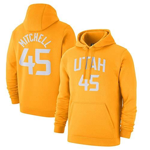 Suéter Encapuchado City Versión del Reproductor Suéter Donovan Mitchell 45 Deportes Ocasionales Negros Cómodo Top Orange-XXXL