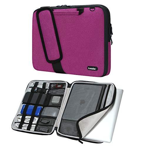 iCozzier 11-11,6 Zoll Griff Laptop Aktentasche Umhängetasche Elektronisches Zubehör Organizer Messenger Tragetasche mit Schulter- und Gepäckriemen - Rose