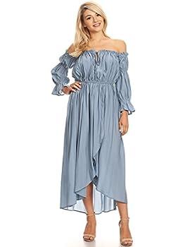 Anna-Kaci Womens Casual Boho Long Sleeve Off Shoulder Renaissance Peasant Dress Blue Medium
