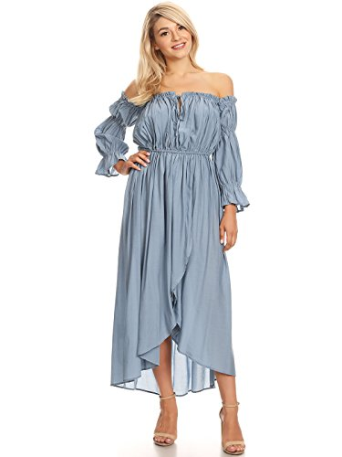 Anna-Kaci Womens Casual Boho Long Sleeve Off Shoulder Renaissance Peasant Dress, Blue, X-Large