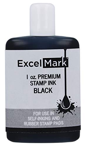 ExcelMark Premium Self-Inking Stamp Refill Ink - 1 oz. (Black)