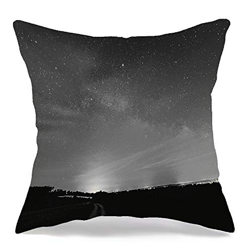 Pillow Cover Decorative Linen Square Pillowcase Sky Tree Summer Milkyway Beauty Galaxy Nebula Black Dark Long White Blue Exposure Design Travel Cozy Cushion Case for Chair Couch Bench 16x16 Inch
