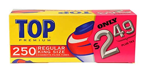 Top Regular Full Flavor Red RYO Cigarette Tubes - King Size - Pre-Priced - 250ct Box (4 Boxes)