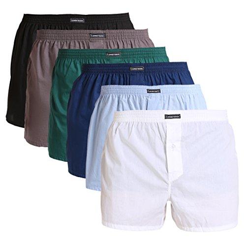 Lower East Herren American Boxershorts, 6er Pack, Mehrfarbig (Schwarz/Weiß/Blau/Grün/Hellblau/Grau), Gr. Medium