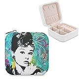 Audrey Hepburn - Portagioie da viaggio in pelle PU, portatile, per collane, orecchini, bracciali, anelli, orologi, vetrine, portagioie, da donna