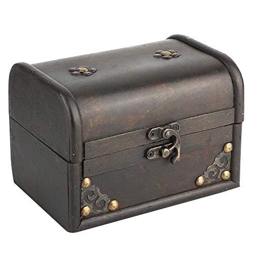 HERCHR Caja de joyería de Madera Vintage Caja de Organizador de Escritorio Caja de Cofre del Tesoro
