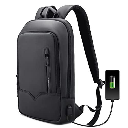Mochila Hombre  Ordenador Portátil Impermeable con Puerto de Carga USB  Laptop 15.6