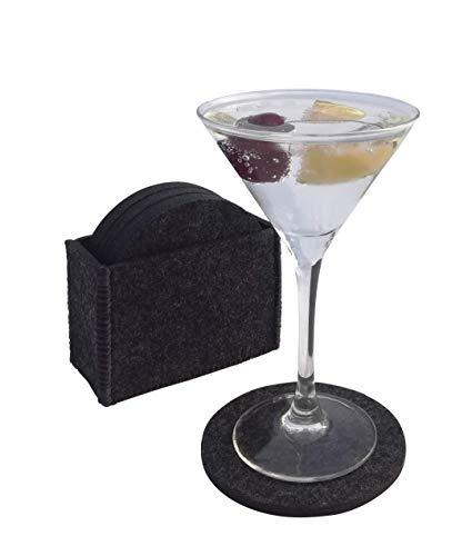 Tebewo - Juego de 8 posavasos de fieltro con caja - Posavasos premium para vasos, tazas, vasos, mesa y bar, cuadrados/rectangulares o redondos, Dunkelgrau 2, 10cm rund