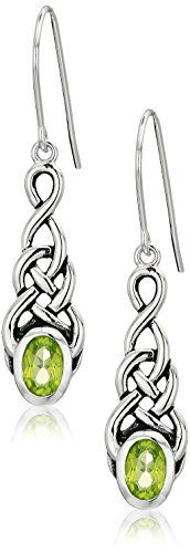 Amazon Collection Sterling Silver Genuine Peridot Celtic Knot Linear Drop Earrings
