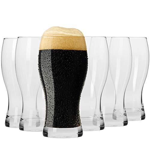 Krosno Bicchieri Calice Birra Scura Vetro 0,5 Litri | Set di 6 | 500 ML | Collezione Elite | Perfetto per casa, ristoranti e Feste | Adatto alla Lavastoviglie e al Forno a Microonde