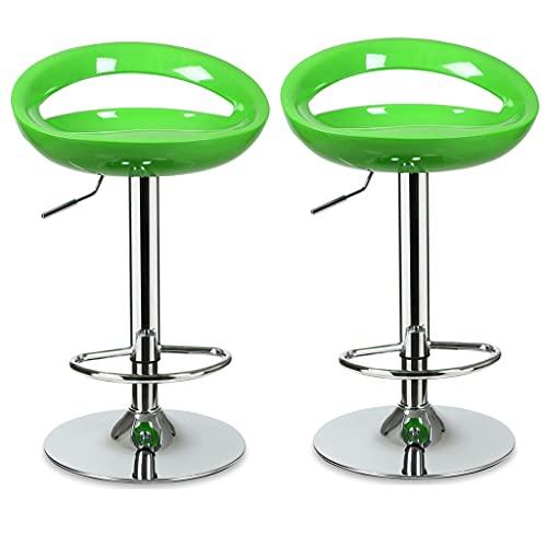 MENGGE Sedia da Bar Rotante da 2pcs, Sgabello da Bar con Schienale E Poggiapiedi, per Bar Cucina da Pranzo Soggiorno Sgabello Alto (Color : Green)