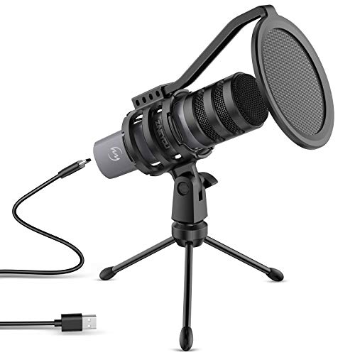 ZINGYOU Microphone for Computer USB Condenser PC Mic for Recording Vocals Singing Chatting Voice Over Skype Twitch with Tripod Stand and Pop Filter Plug & Play Recording Equipment, ZY-UD1 Gray