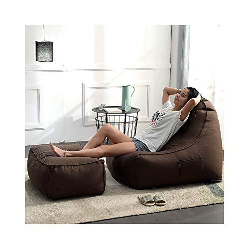 H-ei Lazy Couch Tatami Sitzsack Komfortable Single Leinen Sofa Schlafzimmer Wohnzimmer Einfache Kreative Stuhlkissen mit Fußstütze 100 × 90 × 75 cm (Color : Brown)