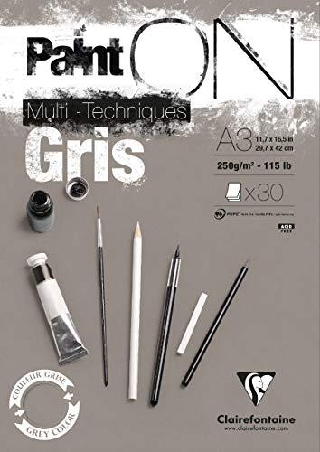Clairefontaine 975810C PaintOn Block (250 g, DIN A3, 29,7 x 42 cm, geleimt, 30 Blätter, ideal für weiße Zeichnungen und Multitechniken) grau