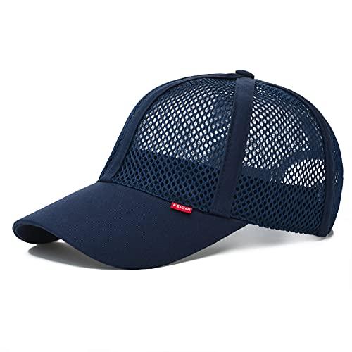 FEICUI Men Mesh Trucker Baseball Cap Hat Adjustable 6-Panel Hat Outdoor Sports Wear (Navy)