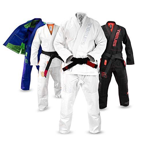Sanabul Highlights Professional Competition BJJ Jiu Jitsu Gi IBJJF Approved See Special Sizing Guide (AllWhite, A0)