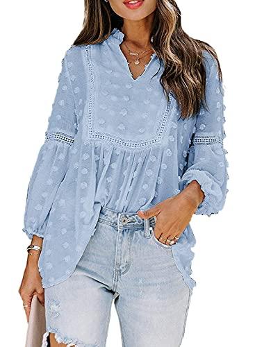 Eogrokerr Camisetas de manga larga para mujer, cuello en V casual, camisa de manga larga, blusa de gasa de color soild, A-azul cielo, 14-16