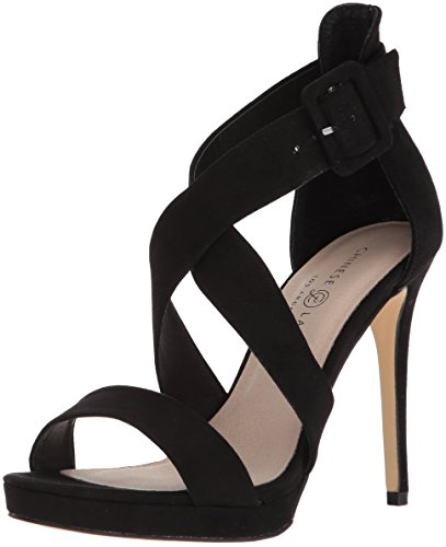 Chinese Laundry womens Foxie Heeled Sandal, Black Suede, 6.5 US