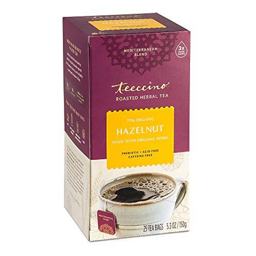 Teeccino Herbal Tea – Hazelnut – Rich & Roasted Herbal Tea That's Caffeine Free & Prebiotic for Natural Energy, 25 Tea Bags
