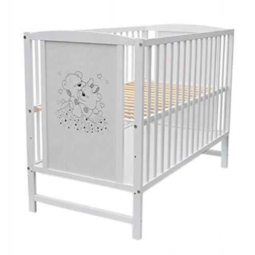 Cuna de bebé con rejilla, 120 x 60 cm, color blanco, diseño de oso y corazones con colchón