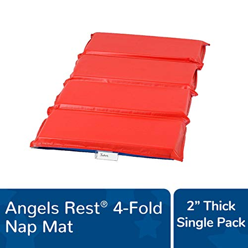 Angeles Rest 2' Nap Mat, 4 Section Folding Sleeping Mats for Kids/Toddlers Daycare, Bacteria-Resistant Waterproof Seams, Homeschool/Classroom Rest Mat