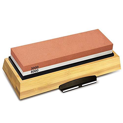 Torasdon - afilar piedra - afilar piedra 3000 8000 grano doble cara juego base de bambú antideslizante y ángulo libre - lubricante campamento curso recto miyabi bandeja portátil inoxidable global