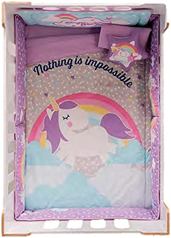 JORGE S HOME FASHION INC HOT Seller Rainbow And Unicorn Baby Girls Crib Bedding Set Nursery 6 PCS 100 Cotton