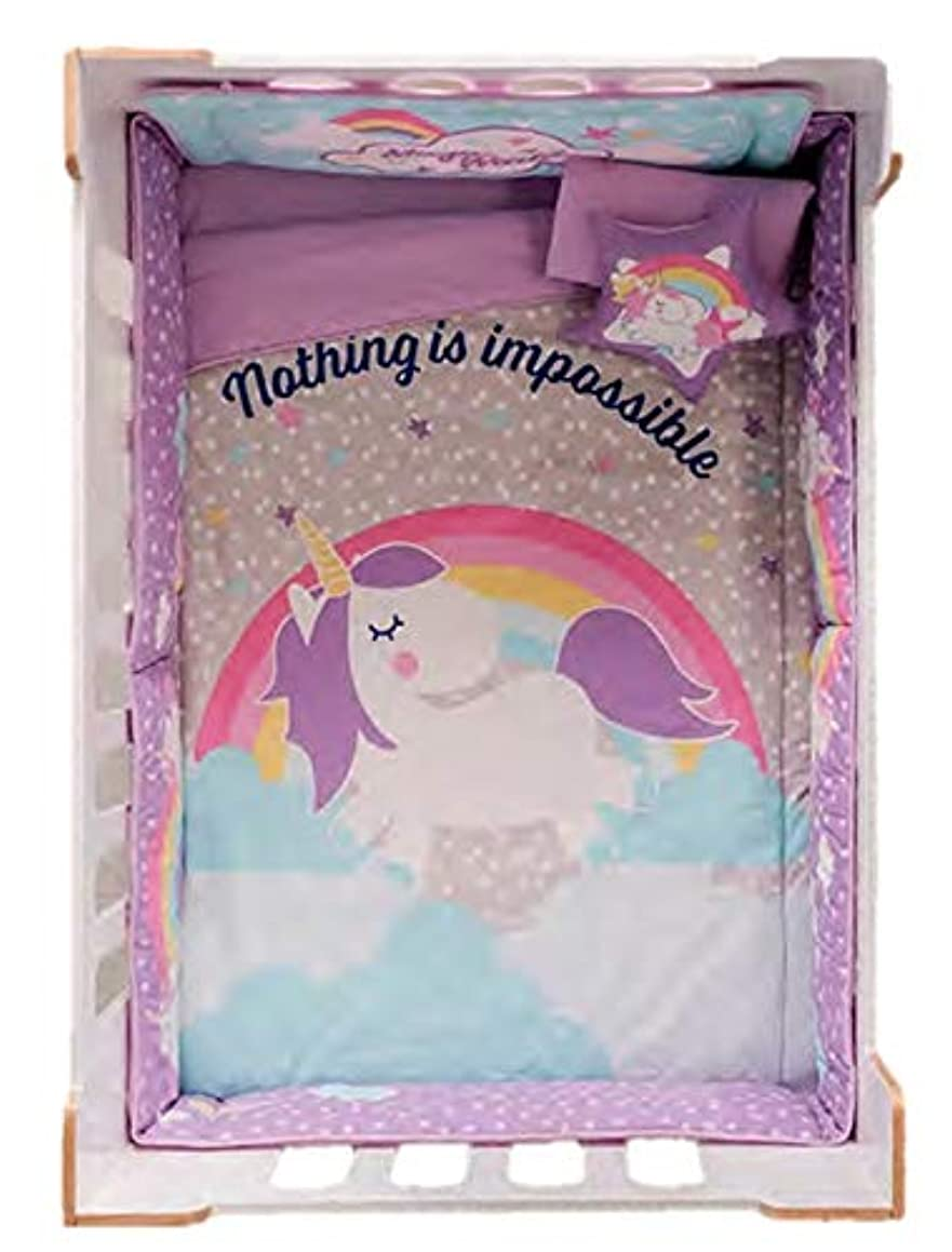JORGE'S HOME FASHION INC New Pretty Collection Horse Unicorn Baby Girls Crib Bedding Set Nursery 6 PCS 100% Cotton