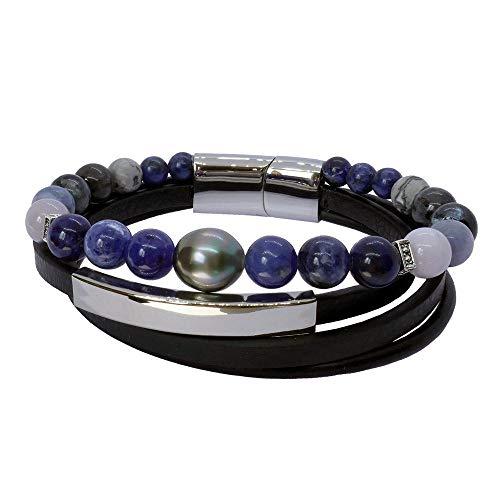 Inspiration in Blue: Pulsera para hombre con perla de Tahití y piedras azules BRO8552