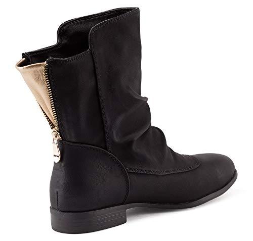 Fusskleidung Damen Schlupfstiefel Stiefeletten Boots Leicht Gefütterte Stiefel Schuhe Schwarz EU 36