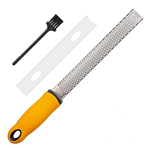 Lemon Zester Cheese Grater Parmesan Cheese Ginger Garlic Chocolate With RazorSharp Stainless Steel Blade Protective Cover and Cleaning brush Dishwasher Safe by NSpring narrowzester