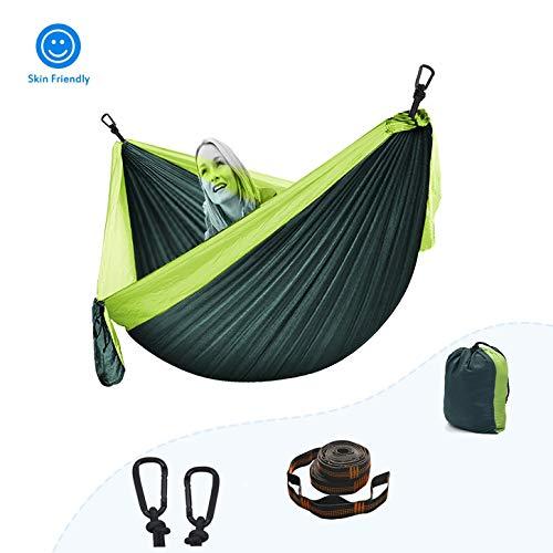 Hamaca Para Acampar Correas De Fijación Y Mosquetones, Portable Hamaca De Camping Nylon Portátil Paracaídas Ideal Para Viaje Jardín, Camping ( Color : Dark green+light Green , tamaño : 260*140cm )