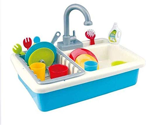 Cocina Piscina de agua pequeña para niños Juguete para niños Vajilla Limpieza Play Fregadero,Blue