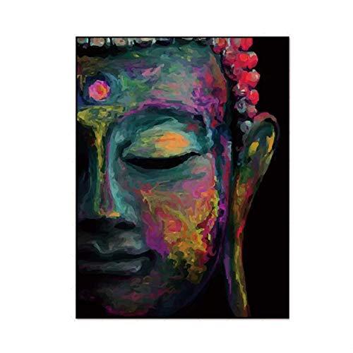 CHENSH Buda Estatua Pared Arte Lienzo Pintura Antigua religión India Budismo Arte Cartel decoración del hogar Impresiones Buda para Dormitorio