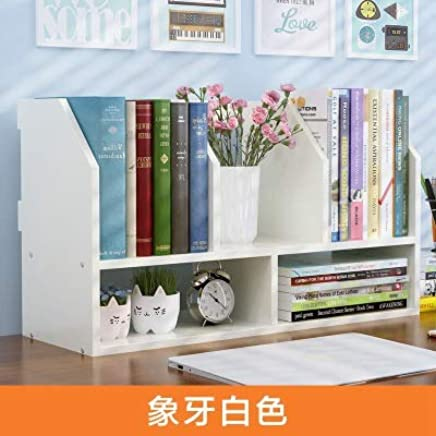 幽咸家居 简约现代桌面小书架学生宿舍简易书架办公置物架儿童桌上组合书柜 (象牙白, 60 * 30 * 24CM)