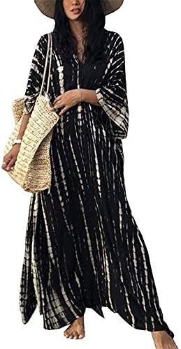 Taek-cheon Mujer Kaftan Playa Traje de baño Cubierta túnica Traje de baño Suelto Maxi Largo Bikini Traje de baño Vestido de Envoltura (Color : Black, Size : One Size 45-62.5kg)