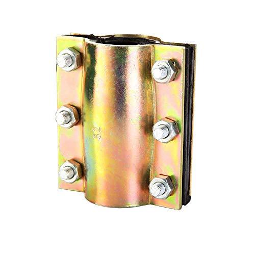 Steel Water Hose Pipe Repair Clamp Emergency Connector Repairing Hinged Tool Anti Leak Heavy Duty Bronze w/Bolts DN50 2 Inch (2 Inch DN50, Bronze)