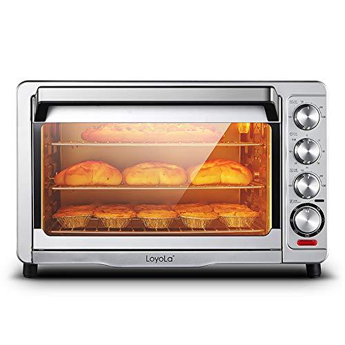 JPKX-M Catering Four à Pizza Electrique 36 litres avec Pince, Plateau, Grille et Broche Rotative 1620 W, Fonction minuterie jusqu'à 60 Min Métal/Verre, Noir