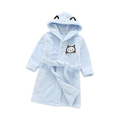 Insun Niños Albornoz Ducha Bata de Baño con Capucha Pijamas Camisón Dibujos Animados Ropa de Dormir Azul Gato Tag 110 Altura 100-110cm