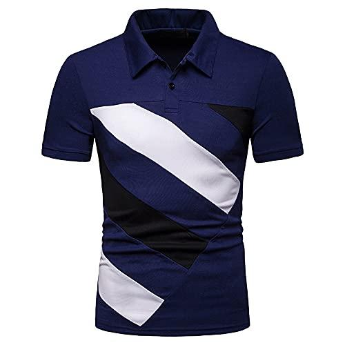 Tradicional Camisa Hombre Verano Moda Contraste Color Diseño Elástica Ajustado Hombre Deportiva Camisa Moderna Básica Botón Placket Manga Corta Negocios Casual Golf Hombre Shirt F-Blue 2 L
