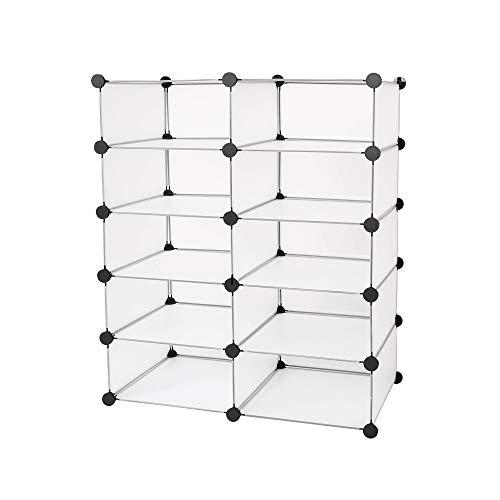 Edaygo Scaffale Componibile a Incastro Guardaroba Armadio Modulare in Plastica 93 x 76 x 37 cm, Trasparente, 10 Cubi