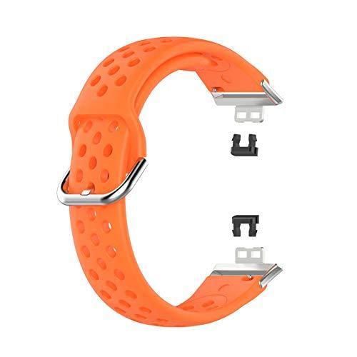 Tixiyu Correa para hombres y mujeres de silicona suave de repuesto compatible con Huawei Watch Fit Smart Watch (naranja)
